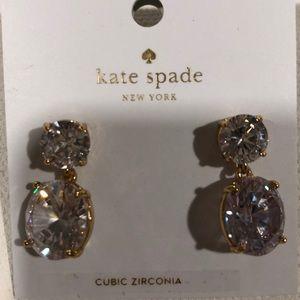NWT Kate Spade gold cubic zirconia drop earrings